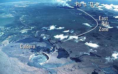 Вид с верху на саммит кальдеры и восточную рифтовую зону вулкана Килауэа. Восточная рифтовая зона вулкана Килауэа. Фотография J.D. Griggs, 1 января 1985 года.