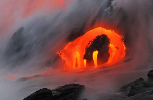 magma and water meet