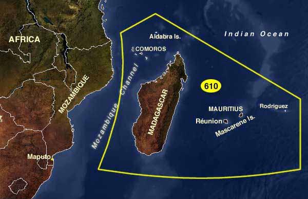 Карта архипелага Маскаренских островов.