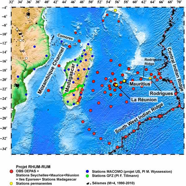 Existing and planned seismic stations in the SW Indian Ocean.