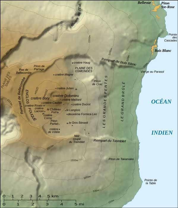 Topographic map of Piton de la Fournaise, which includes the names of features associated with the volcano (the labelling on the map is in French; cratère translates to crater in English). Source: Gaba (2007).