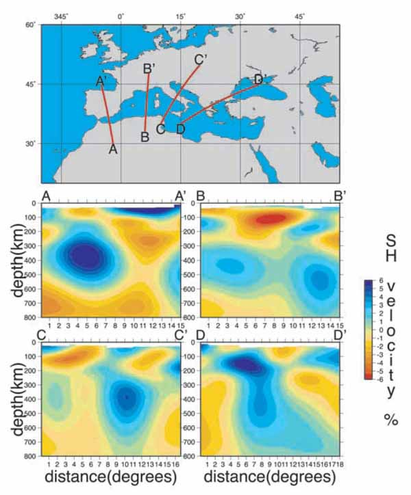 Surface wave tomography imagining the Mediterranean basin.