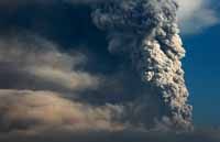Mount Merapi. Eruption 2010. Ash.