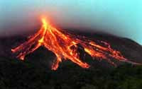 Mount Merapi. Eruption 2010. Hot lava.