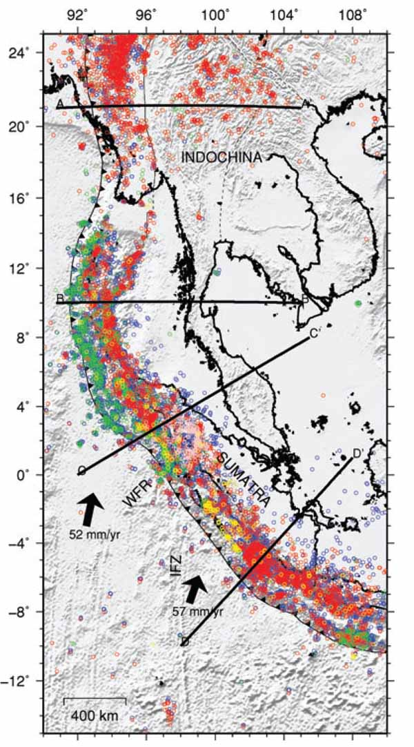 Sumatran Subduction Zone Tomography Map.