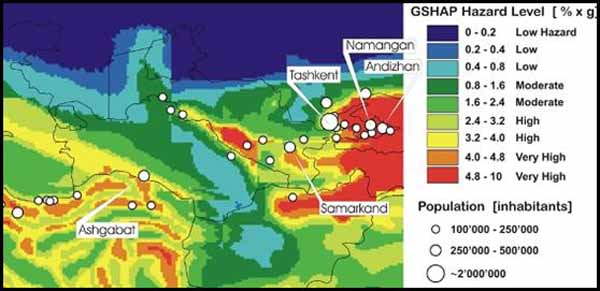 Map of the Global Seismic Hazard Programme.