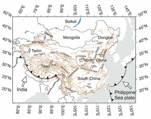 The map of major geological units in continental China.