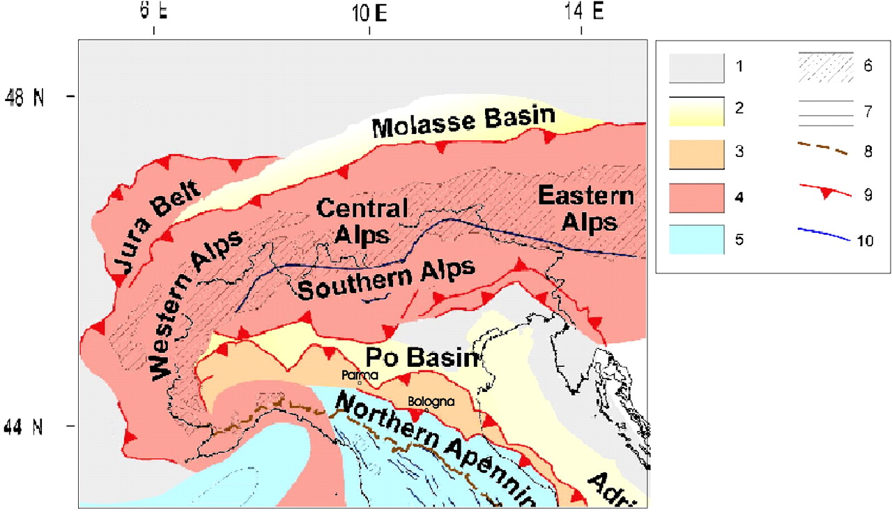 Simplified tectonic map of northern Italy.