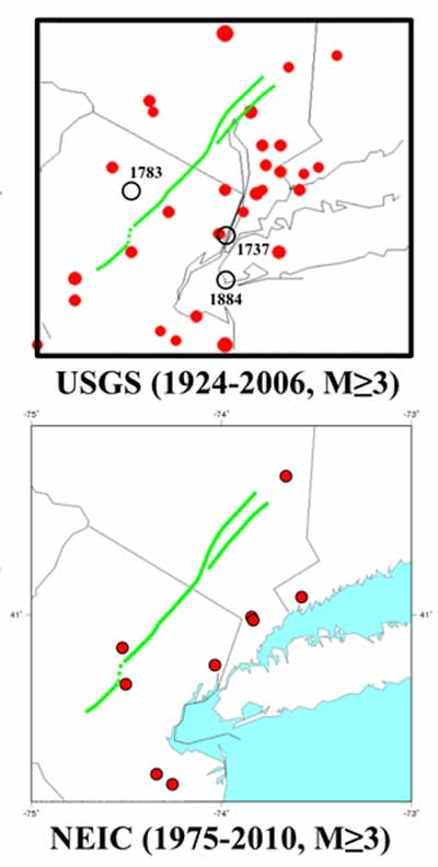 Seismicity in the area of New York City.
