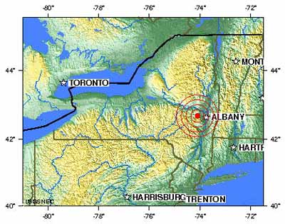 Fig.1. The epicenter of the New York 2011 earthquake (red circle)