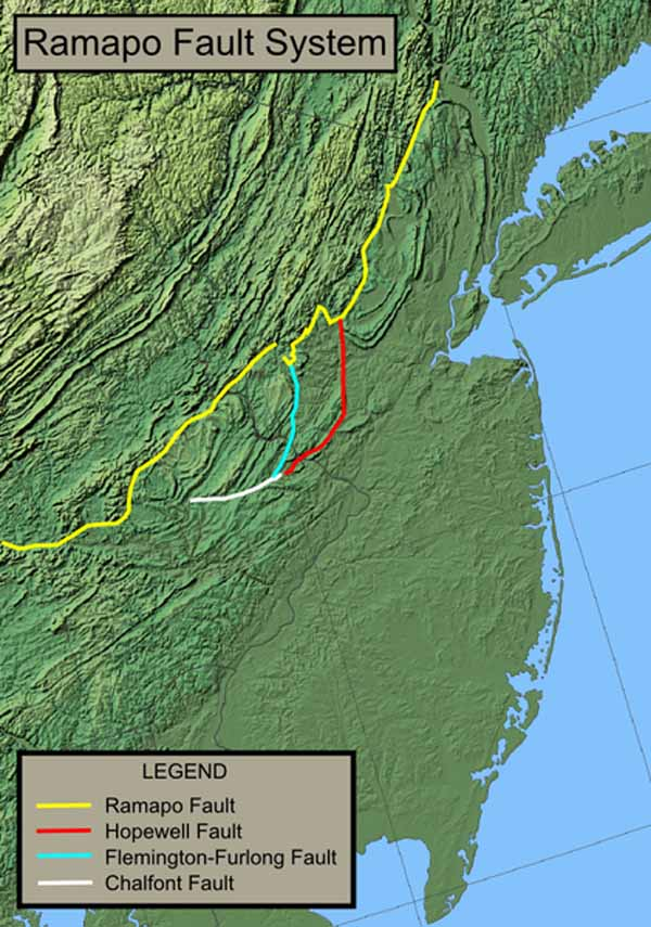 The Map of the Ramapo Fault System in New York, New Jersey, and Pennsylvania.
