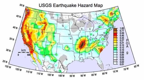 National Seismic Hazard Map developed by the U.S. Geological Survey in 2008.