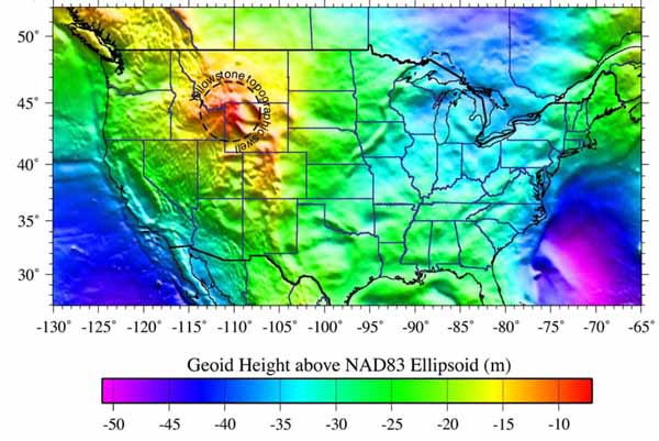 Fig. 3. Gravity signatures of Yellowstone global hotspots.
