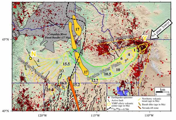 Fig. 7.  Path of the Yellowstone hot spot over the past 15 million years.